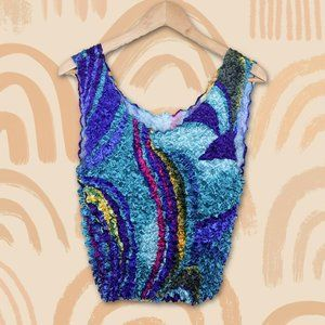 Vintage 80s 90s Cropped Tank Popcorn Colorful